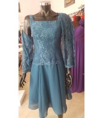 официална дамска рокля в ретро стил с дантелено болеро в пастел