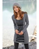 стилна есенно - зимна ежедневна топла рокля в стил 2 в 1