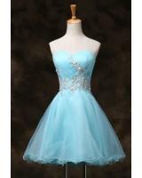 къса бална рокля в синьо