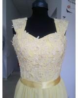 официални рокли в слънчогледово жълто на връзки тип корсет
