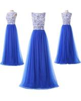 дълга абитуриентска рокля в кралско синьо с тюл колекция 2019