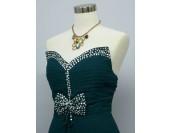 разкошна официална рокля в елмазено зелено с шлейф