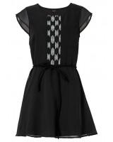 красива официална рокля с къс ръкав и коланче