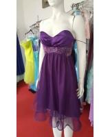 официална рокля в лилаво с бродерия и коланче