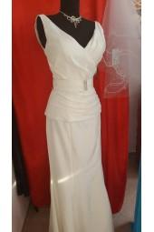 сватбена рокля от 2 части тип сватбен костюм със сияещо коланче в крем подходящ за подписване