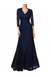официална рокля с дантелени ръкави в тъмно - синя гама