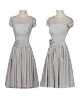 луксозна официална рокля в сиво с дължина до коленете и дантела