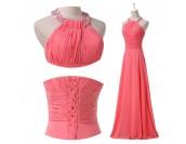 елегантна бална рокля в корал