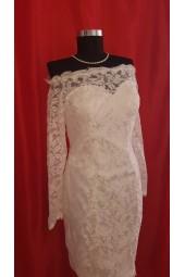 дантелена сватбена рокля с голи рамене и полугол гръб в 2 гами