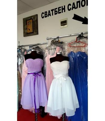 сватбена бална шаферска рокля с коланче на връзки