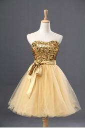 къса бална рокля с обем и пайети в 2 гами