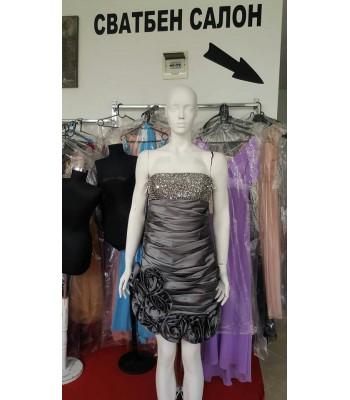 къса бална рокля с деко цветя в металик