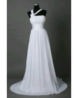 сватбена рокля с едно рамо и цвете на връзки