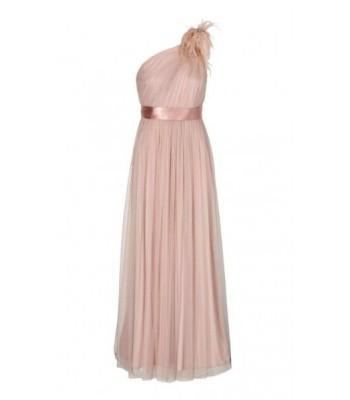 нежна бална рокля с едно рамо в пудра