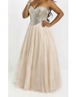 официална рокля с камъни тип принцеса