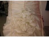булчинска бална рокля тип корсет в шампанско с елегантен гол гръб