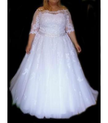 булчинска рокля с ръкави за макси булки
