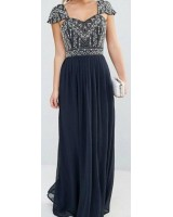 висша мода официална рокля в индиго обсипана с мъниста 2018