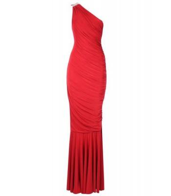 елегантна рокля с едно рамо в червено