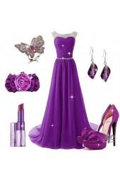 висококачествена рокля с декоративни кристали