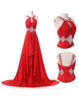 наситено - червена официална рокля с екстравагантен дизайн 2018