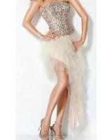 бална рокля в телесен цвят микс къса и дълга
