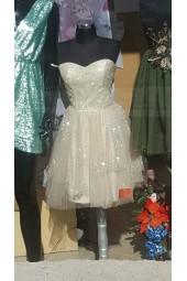 ултра сияеща официална шаферска рокля в шампанско