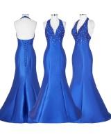 луксозна официална рокля от сатен с декорация