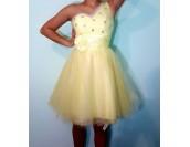 кокетни рокли в синьо и жълто с обем и едно рамо на ниски цени
