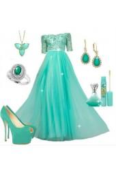 ефирна бална рокля в свежа ментова гама 2019