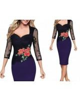 официална рокля с дълъг ръкав и цветя