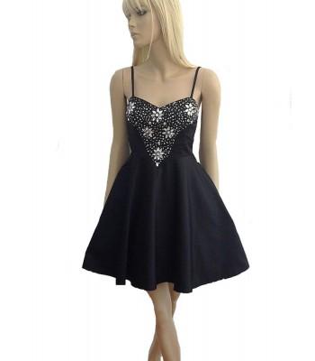изгодна къса рокля с декоративни кристали мини и макси размери