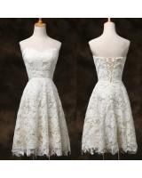 къса бална сватбена рокля в слонова кост