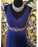 официална рокля с кристали в кралско синьо