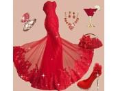 луксозна абитуриентска рокля с червена дантела