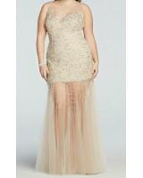 ултра сияеща полупрозрачна бална рокля в бежово