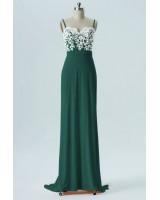 евтина дълга рокля декорирана с брюкселска дантела