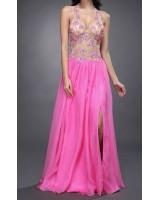 дизайнерска бална рокля с гол гръб в розово