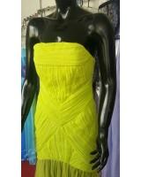 официална рокля тип русалка в неоново жълто