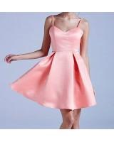къси шаферски рокли от сатен по желание с тънки презрамки