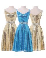 официална рокля с ултра сияещ дизайн и тънки презрамки в 2 гами