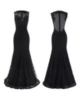 луксозна рокля от черна дантела в стил русалка с прозрачен гръб