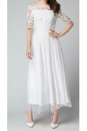 семпла булчинска рокля от тюл и дантела