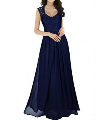 лека официална рокля декорирана с дантела в синьо