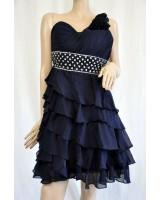 бутикова бална рокля с едно рамо в синьо