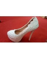 официални обувки на висок ток с перли