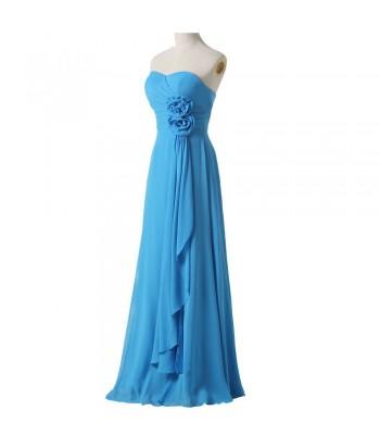 бална рокля в морско - синя гама с цветя