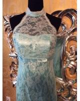 дантелена официална рокля с яка в мента