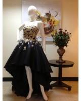асиметрична бална рокля в микс от 4 вида плат