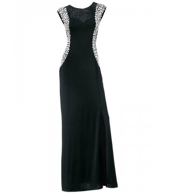 стилна маркова рокля в черно с цепка и декоративни кристали